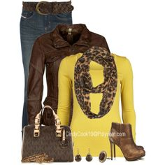 Brown and Yellow, created by cindycook10 on Polyvore
