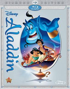 "Climb aboard for a magical carpet ride with nonstop laughs, action-packed adventure and Academy Award(R)-winning music that will make your heart soar (1992: Best Music, Original Song, ""A Whole New World,"" Original Score). Now for the first time ever, a whole new world of Disney's ALADDIN is revealed in a whole new way on Blu-ray and Digital HD -- with never-before-seen bonus! With the help of a hysterically funny, shape-shifting, 10,000-year-old Genie, street-smart commoner Aladdin..."