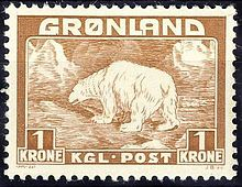 A 1938 stamp of Greenland.