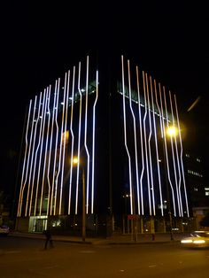 Modern, but not drab. Tinted glass, but not your everyday office building. The Ayasha Building (Ayasha meaning small in the local dialect), commissioned by a pr Facade Lighting, Deck Lighting, Exterior Lighting, Club Lighting, Custom Lighting, Light Building, Building Facade, Building Design, Facade Design