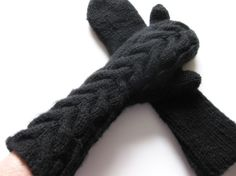 Black elbow length  mittens pure by aronsnthings, $35.00