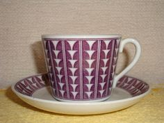 Upsala Ekeby Gefle Percy Cup and Saucer Made in Sweden, Purple, Tea, Demitasse