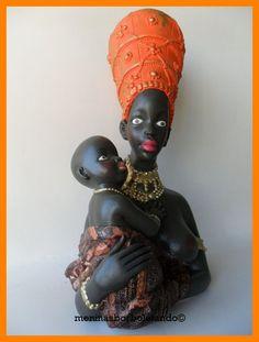 Africana peça em gesso pintada a mão com aplicação decoupage. R$75,00