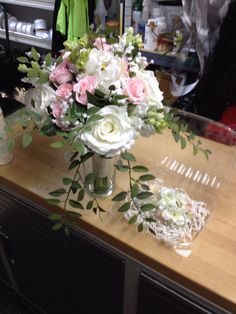 Silk bouquet of pink and white roses and tulips with babies breath and matching silk hair flowers