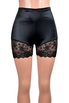 High-Waisted Black Satin Lace Leg Shorts 3.5 inseam XS | Etsy Lace Trim Shorts, Satin Shorts, Plus Size Goth, Fashion Photography Inspiration, Stretch Satin, Plus Size Lingerie, Cropped Tank Top, Black Satin, High Waisted Shorts