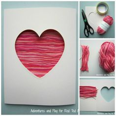 Pretty Yarn Heart Valentine's Card for Kids to help make!