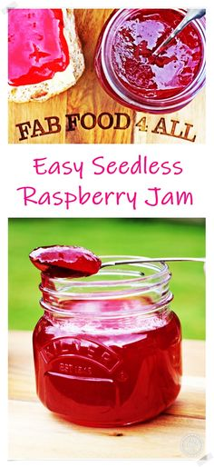 Easy Seedless Raspberry Jam uses no pectin & is so quick to make! This gorgeous jam tastes as vibrant as it looks, perfect for afternoon tea! #seedlessraspberryjam #seedlessraspberryjamrecipe #seedlessraspberryjamnopectin #raspberryjam #raspberryjamrecipe Seedless Raspberry Jelly Recipe, Raspberry Jam No Pectin, Blackberry Jam Recipes, Raspberry Recipes, Jelly Recipes, Sweet Recipes, Easy Jam Recipes, Canning Recipes, Vegan Recipes