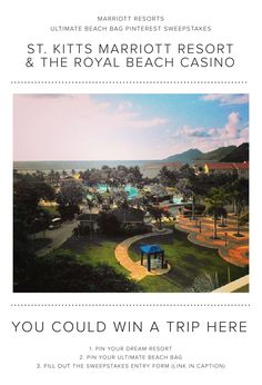 Enter the Marriott Resorts Ultimate Beach Bag Pinterest #Sweepstakes for your chance to win a trip to the St. Kitts Marriott Beach Resort & Royal Beach Casino!