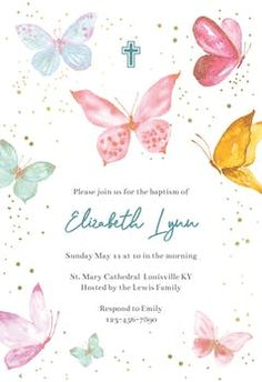 Soft Floral - Baptism & Christening Invitation Template | Greetings Island Butterfly Invitations, Free Birthday Invitations, Wedding Party Invites, Christening Invitations, Baby Shower Invitation Templates, Birthday Template, Safari Invitations, Girls Party Invitations, Princess Invitations