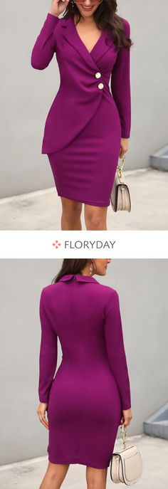Solid Buttons Pencil Above Knee Sheath Dress - Solid pencil above knee sheath dress, elegant, stylish, preorder. Source by lillylouwest - Dresses Elegant, Cute Dresses, Beautiful Dresses, Dresses For Work, Girls Dresses, Komplette Outfits, Classy Outfits, Jw Mode, Latest Fashion For Women
