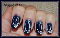 Raggio di Luna Nails: Elegant manicure White flower on dark blue Rose Nails, Flower Nails, Gel Nails, Nail Art Designs, Colorful Nail Designs, Cute Pink Nails, Funky Nails, Silver Nail Art, Different Nail Designs