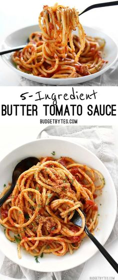 Pasta with 5 Ingredient Butter Tomato Sauce uses simple ingredients to make an elegant meal. @budgetbytes