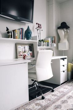 Sara Azani's DC Home Tour // home office styling // dress form // white desk // photography by Yvonne Rock