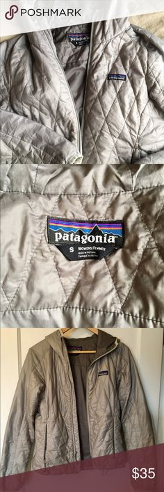 Patagonia nano puff silver size s women's Gently worn silver Patagonia nano puff jacket with hood- very useful go to jacket, great for layering and lightweight.  🌟🌟Flaws are as follows: 3-4 spots where stitching is slightly pulled - see photo 6, it's pretty minimal. 3 small pen stains on the sleeves- 1 green 2 black (see photos). Price reflects these flaws. Patagonia Jackets & Coats Puffers