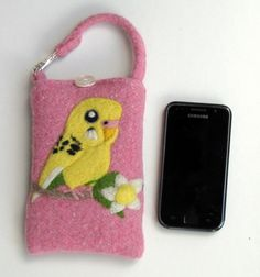 Mia Nieminen / Budgie Needle Felted iPhone Cozy / Cell Phone Cozy / Mobile Phone Cozy