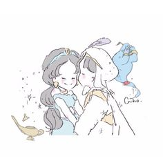 Caho(@chico0811)さん / Twitter Disney Drawings, Cute Drawings, Anime Chibi, Anime Art, Anime Mouth Drawing, Disney Jasmine, Cute Couple Art, Princesa Disney, Cute Anime Couples