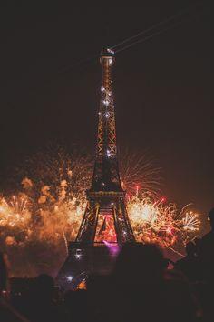 fireworks at effiel tower, Bastille Day