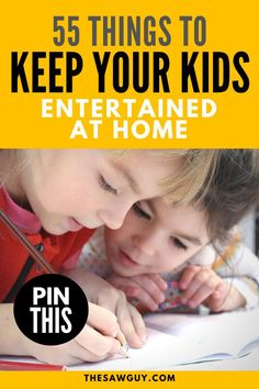 Looking for rainy day activities to keep your kids happy even while they're stuck indoors? Check out our list of 55 things you can do with your kids to keep them entertained at home. Our list of indoor activities is sure to have you covered. Click on!  #thesawguy #projectideasforkids #projectsforkids #activitiesforkids #indoorprojects #rainydayactivities Arts And Crafts Projects, Cool Diy Projects, Outdoor Projects, Project Ideas, Rainy Day Activities, Indoor Activities, Handmade Wooden Toys, Woodworking Projects For Kids, Upcycled Crafts