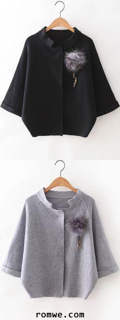 Grey & Black Raglan Sleeve Sweater Coat With Brooch