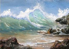 US $22.50 miniature acrylic painting by Paul M. Woodruff.