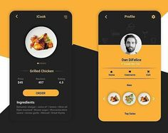 """from @nitinkjain_ - """"ICook """" food app profile and order screen, More to come.. #food #app #appdesign  #ui #ux #userinterface #web #pixel #graphicdesign #screen #recipe #foodapp #profile #minimial #order #icook #chicken #grilled #order #review"""