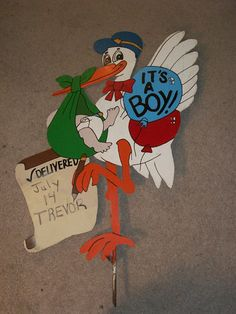 Vintage Stork It's A Boy Yard Wall Name Display Metal Steel Sign Child Birth | eBay