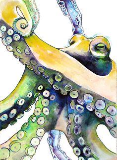 Watercolor Painting Octopus Print 5 x 7. yellow by Krislyndillard
