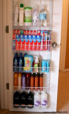 Even though buying in bulk can save major money, finding a place to pack those extras can be tough. Our favorite solution? Add a rack on the back of your door for all of your boxes of toothpaste and bottles of shampoo.