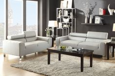 2 pc Wade logan montvale grey bonded leather sofa and love seat set with adjustable headrests. This set features a bonded leather upholstery with chrome legs and adjustable headrests. Sofa measures x x - H. Love seat measures x x Grey Leather Sofa, Leather Sofa And Loveseat, Sofa And Loveseat Set, Best Leather Sofa, Bonded Leather, Black Leather, Loveseat Sofa, Sectional Sofa, Armchair