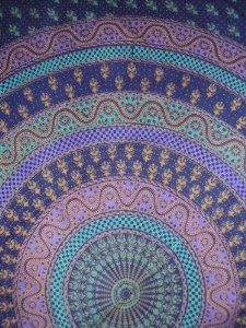 """Sanganeer Tapestry Spread Coverlet by Indian CottonTapestry. $28.86. Center mandala-circle design has a beautiful mix of green, purple , gold. Gorgeous navy blue background covered with floral motifs.. Dimensions : 86"""" x 102"""". Gorgeous navy blue background covered with floral motifs. Center mandala-circle design has a beautiful mix of green, purple and gold colors."""