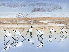 Time and Tide, linocut by Niki Bowers Linocut Prints, Art Prints, Block Prints, Les Themes, Wildlife Art, Bird Art, Oeuvre D'art, Female Art, Les Oeuvres