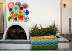 Love the DIY fan backdrop for a photobooth! Vibrant, Colourful 1960s Mod Style Palm Springs Elopement Shoot | CHECK OUT MORE IDEAS AT WEDDINGPINS.NET | #weddings #diyweddings #diy