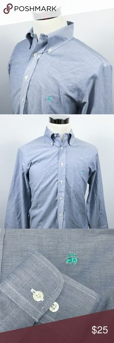 Brooks Brothers Mens Medium Regent Golden Fleece Brooks Brothers Mens Medium Regent Golden Fleece Logo Non Iron Blue Chambray  Measurements (inches): Pit to Pit (across the chest): 22.5 Sleeve (center collar to cuff): 34 Length (top of collar to hem): 33  Condition:  This item is in good pre-owned condition! Free from rips & stains.  All items come from a smoke/ pet free environment. Brooks Brothers Shirts Casual Button Down Shirts