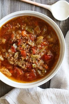 Ground beef, cabbage, vegetables and tomatoes, this is the perfect soup to clean out your fridge! And it's super easy to make.