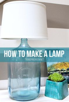 How to make a lamp! A super easy tutorial for an affordable and unique lamp made from a big glass water jug found at a thrift store. #diy