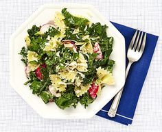 Whip up this slimmer dinner in no time. This easy kale caesar pasta salad is under 500 calories. Click through for more easy summer pasta salad recipes.