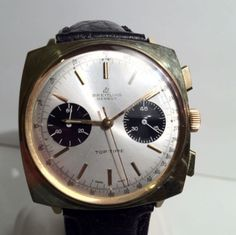 Vintage Breitling Top Time Gold Plated Chronograph Watch Valjoux 7730 60's SVCD