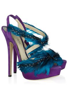 7f1606307ca jimmy choo marlene purple and blue feather sandals - prettiest things ever   shoeporn Most Expensive