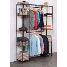 Trinity's Expandable Closet Organizer is easy to adjust, and is the perfect addition to any closet or living space. This expandable, free-standing closet system comes with adjustable hanging rods creating Cheap Wardrobe Closet, Cheap Wardrobes, Diy Wardrobe, Industrial Closet, Dressing, Closet System, Room Closet, Closet Organization, Bloomsbury