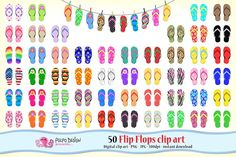 50 Flip Flops clipart by PolpoDesign on @creativemarket