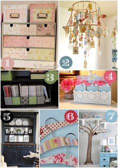 I lovethe lampshade! It just brings all kinds of ideas to come to my mind! :-) Thanks  42 Ways to Decorate with Scrapbook Paper - Home Stories A to Z