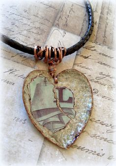 Heart made of Copper Necklace. Double sided. by ClockHandsGoneMad