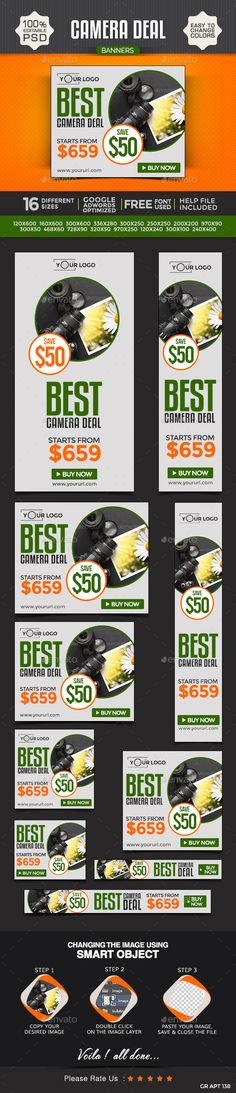 Promote your Products and services related toniche with this great looking Banner Set.  16 awesome quality banner template PSD fil