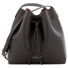 Black Pur bucket bag with a touch of Red, Lancaster Paris. #pur #bucketbag #bag #black #red #saffiano #leather #lancasterparis #lancaster