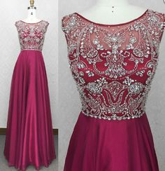 Real Made Beading Charming A-Line Prom Dresses,Long Evening Dresses,Prom Dresses On Sale, T86 - 423