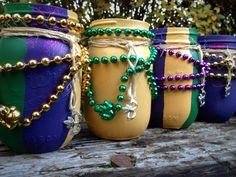 Mardi gras decor, Painted mason jars, mason jars decorated, Fat Tuesday, decorated mason jars by QUEENBEADER