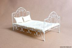 Bed with mattress and 2 pillows for 11 1/2 - 12 inches dolls. 1/6 scale. French style    Our own original design and fully handmade.    Size is 12 3/4