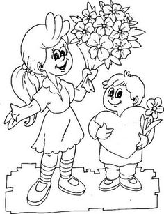 My coloring of two kids love mom Mom Coloring Pages, Coloring Books, Pencil Art Drawings, Animal Drawings, I Love Mom, Online Coloring, Mom Day, Diy Wedding Decorations, Drawing For Kids