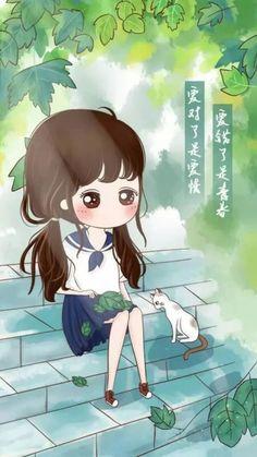 only with her cat Chibi Wallpaper, Kawaii Wallpaper, Cartoon Wallpaper, Girl Cartoon, Cartoon Art, Cute Cartoon, Cute Animal Drawings, Cute Drawings, Anime Korea