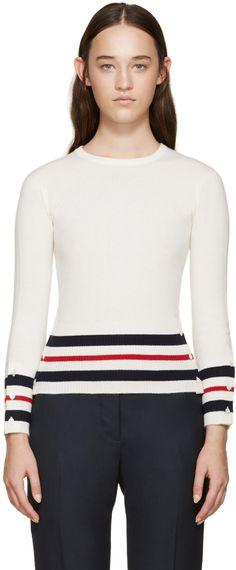 Thom Browne: Tricolor Cashmere Striped Sweater   SSENSE